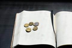 欧元硬币货币金钱Studentlife打破了分笔记本黑色 库存图片