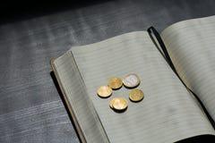欧元硬币货币金钱Studentlife打破了分笔记本黑色 免版税库存图片