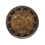 2欧元硬币,欧盟隔绝了在白色 图库摄影
