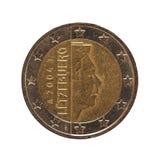 2欧元硬币,欧盟隔绝了在白色 免版税库存照片