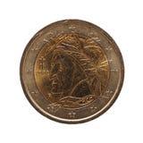 2欧元硬币,欧盟隔绝了在白色 库存图片