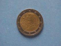 2欧元硬币,欧盟,奥地利 图库摄影