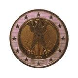2欧元硬币,欧盟,德国隔绝了在白色 库存照片