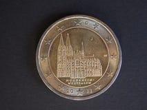 2欧元硬币,欧盟,德国 免版税库存照片