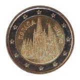 2欧元硬币,欧盟 免版税库存照片