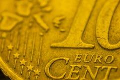 10欧元硬币细节欧洲联合 库存图片