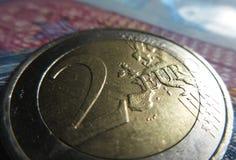 2欧元硬币-细节 库存照片