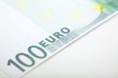 100欧元笔记细节 免版税图库摄影