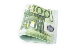 欧元股票与纸夹的在白色 免版税库存照片