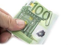 欧元股票与纸夹的在白色 图库摄影