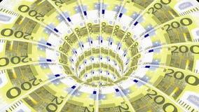 欧元蠕虫孔漏斗隧道飞行无缝的圈动画背景新的质量财务企业凉快好美丽 库存例证