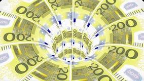 欧元蠕虫孔漏斗隧道飞行无缝的圈动画背景新的质量财务企业凉快好美丽 皇族释放例证