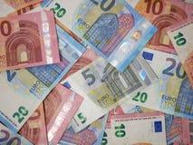 欧元货币钞票顶面下来视图 欧洲货币笔记的各种各样的衡量单位 免版税库存照片