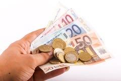 欧元金钱硬币和钞票 免版税库存照片