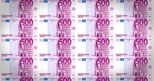 500欧元钞票板料滚动在屏幕,现金金钱,圈的  皇族释放例证