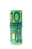 100欧元钞票滚动与橡胶 免版税库存图片