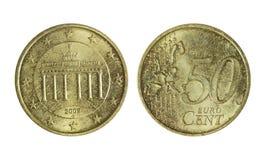 欧元50分,金属货币 库存图片