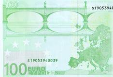 100欧元-宏观片段钞票的后部 免版税库存图片
