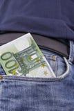 欧元(EUR)在口袋 免版税库存照片