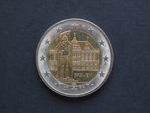 2欧元(EUR)硬币,货币欧盟(欧盟) 免版税库存图片