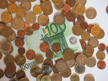 欧元& x28; EUR& x29;纸币和硬币、欧盟& x28; EU& x29; 库存照片