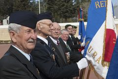 欧巴涅,法国 2012年5月11日 法国外籍兵团的退伍军人的画象在退伍军人等级的  库存照片