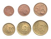 欧洲分的硬币 免版税库存图片