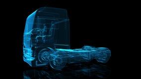 欧洲卡车 式样大卡车的黑和蓝色亮光形成360度转动 库存例证