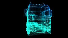 欧洲卡车 式样大卡车的黑和蓝色亮光形成360度转动