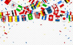 欧洲和世界的不同的国家五颜六色的旗子诗歌选与五彩纸屑 国际信号旗的欢乐诗歌选 皇族释放例证