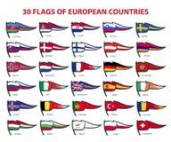 欧洲国家30面旗子  库存图片