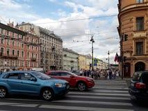 欧洲城市圣彼得堡,俄罗斯的城市视图 免版税库存照片