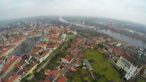 欧洲城市空中射击有历史的建筑学的,从直升机的看法 影视素材