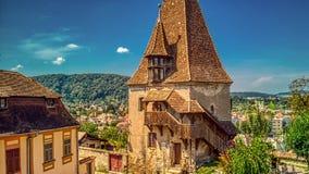 欧洲堡垒的中世纪防御塔 库存图片