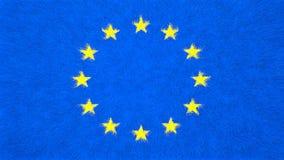 欧洲旗子,与星圈子的蓝色背景  免版税库存图片