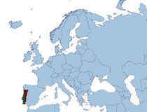 欧洲映射葡萄牙 免版税库存照片