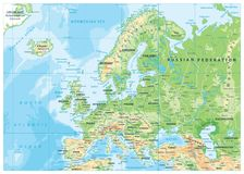 欧洲物理地图 免版税库存图片