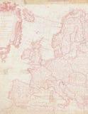 欧洲破旧的别致的映射粉红色的 免版税库存图片