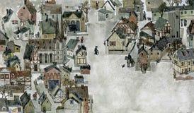 欧洲老城镇 皇族释放例证