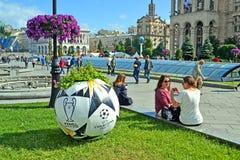 欧洲联赛冠军杯决赛2018标志,基辅,乌克兰, 免版税图库摄影