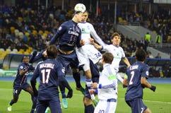 欧洲联赛冠军杯比赛发电机Kyiv与PSG 免版税库存图片
