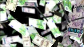 欧洲落的货币雨天空 抽象背景 库存图片