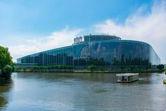 欧洲议会从外面,史特拉斯堡,法国 库存图片