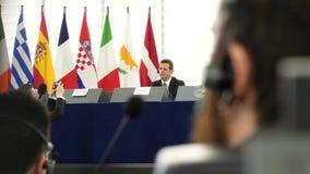 欧洲议会在与人的史特拉斯堡营业日 股票视频
