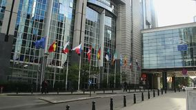 欧洲议会大厦总部在布鲁塞尔比利时欧盟中 股票视频