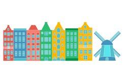 欧洲议会或公寓 设置逗人喜爱的建筑学在荷兰 五颜六色的老房子阿姆斯特丹 向量例证