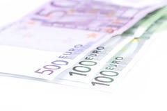 欧洲货币钞票详细资料 免版税图库摄影
