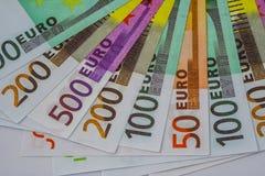 欧洲金钱钞票和现金 50 100 200 500欧元 图库摄影