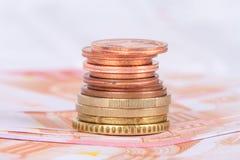 欧洲钞票和硬币货币金钱 图库摄影