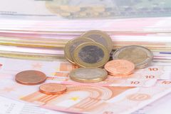 欧洲钞票和硬币货币金钱 库存图片